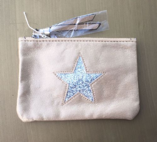 Faux Suede Star Purse/Make Up Bag - Camel